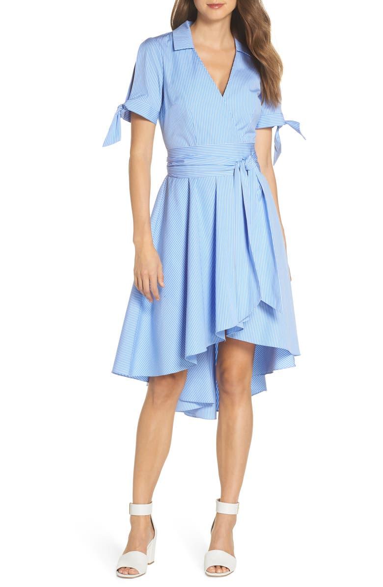 ELIZA J Stripe Faux Wrap Shirtdress, Main, color, 421