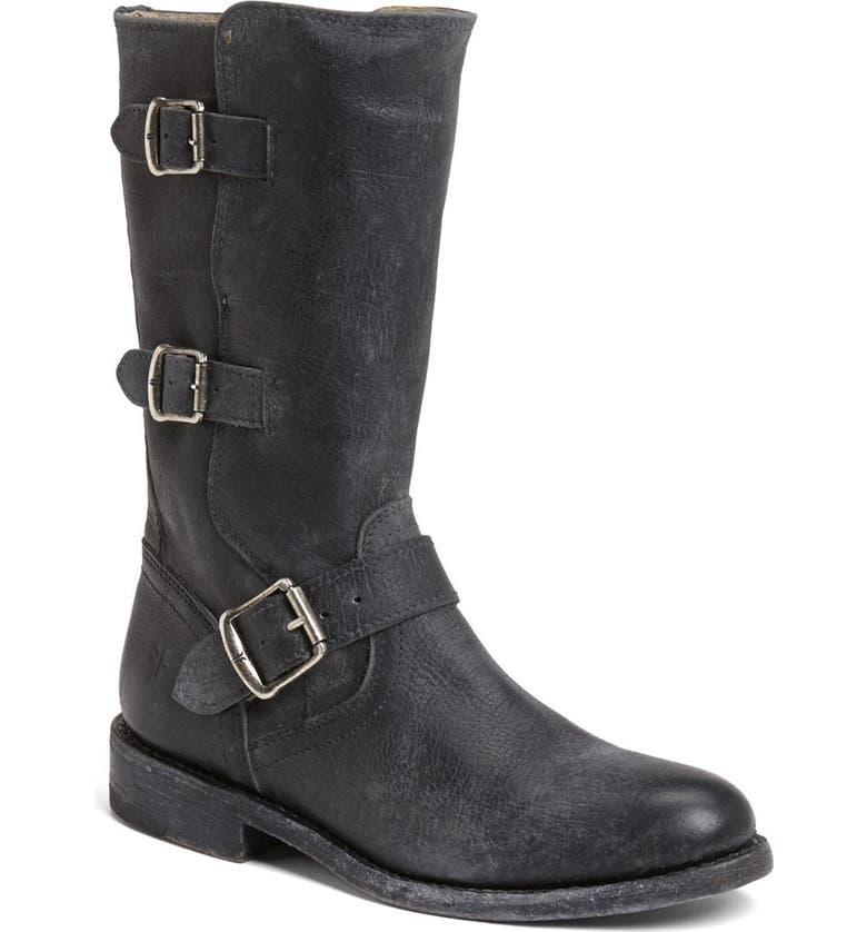 FRYE 'Jayden' Leather Moto Boot, Main, color, 001