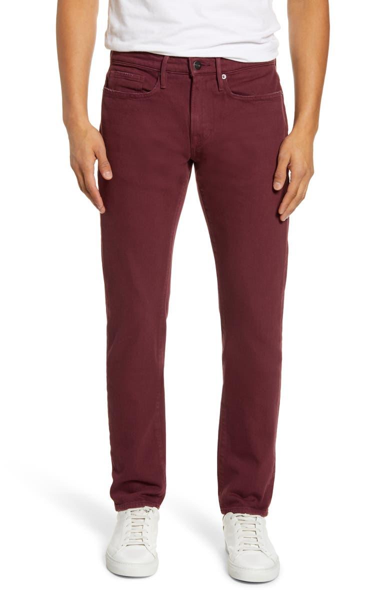 FRAME L'Homme Slim Leg Jeans, Main, color, BURGUNDY