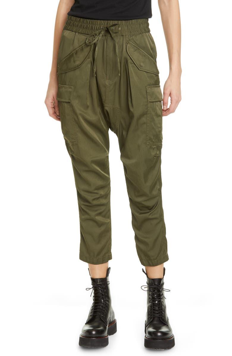 R13 Crop Harem Cargo Pants, Main, color, OLIVE