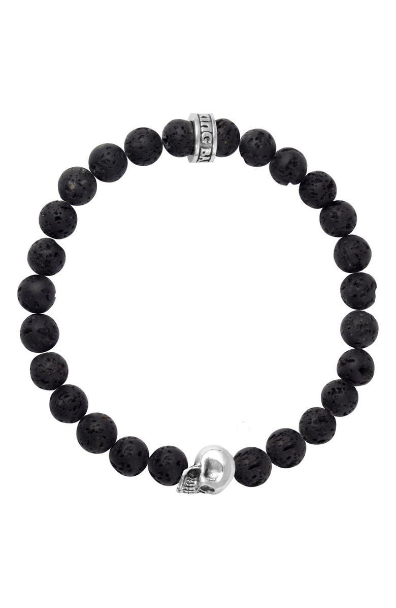 KING BABY Lava Rock Bead Bracelet, Main, color, SILVER/ BLACK