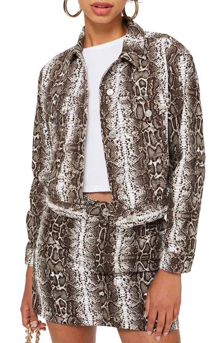TOPSHOP Snakeskin Print Denim Jacket, Main, color, 100