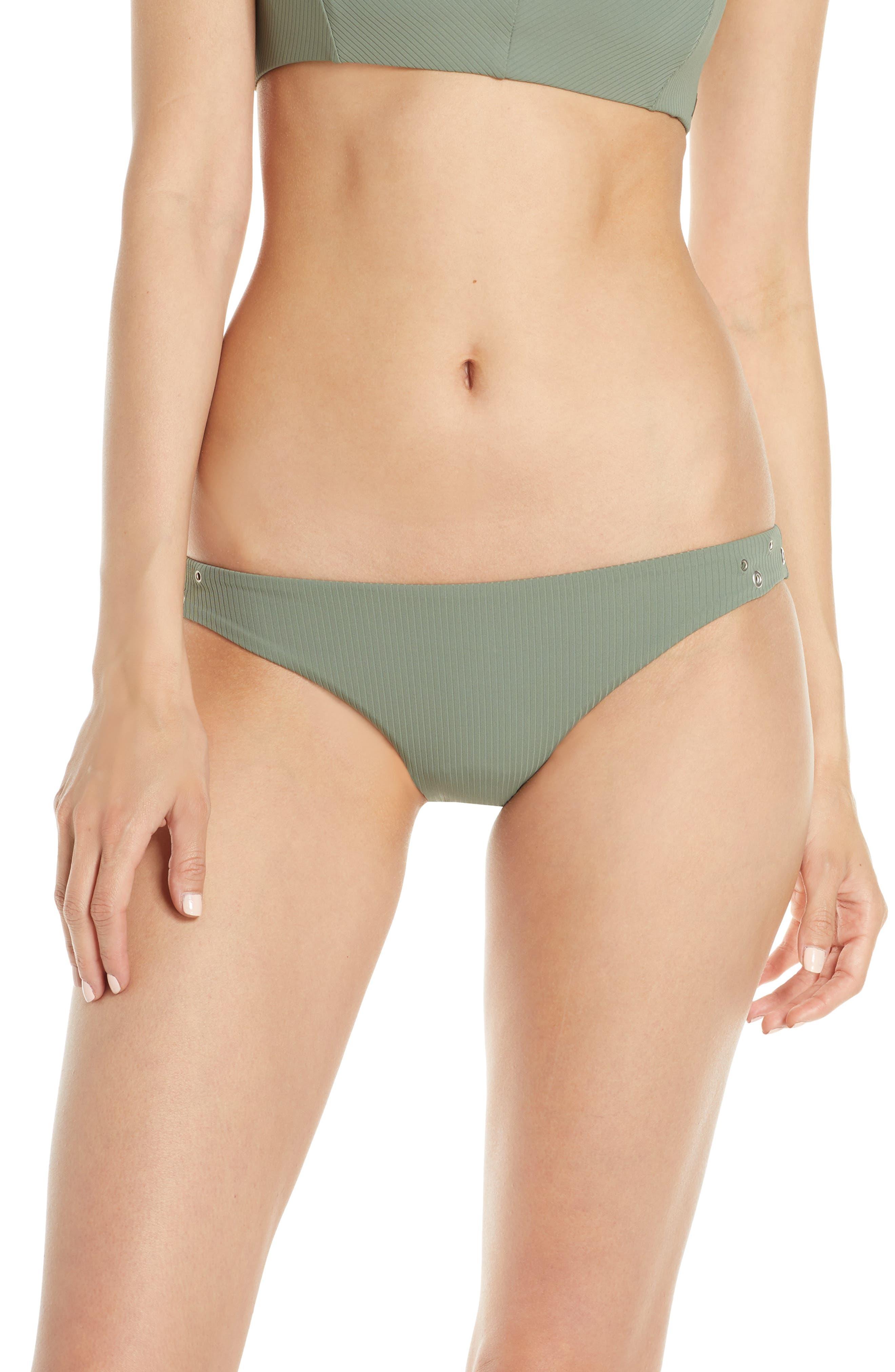 Hurley Quick Dry Surf Rib Bikini Bottoms, Grey