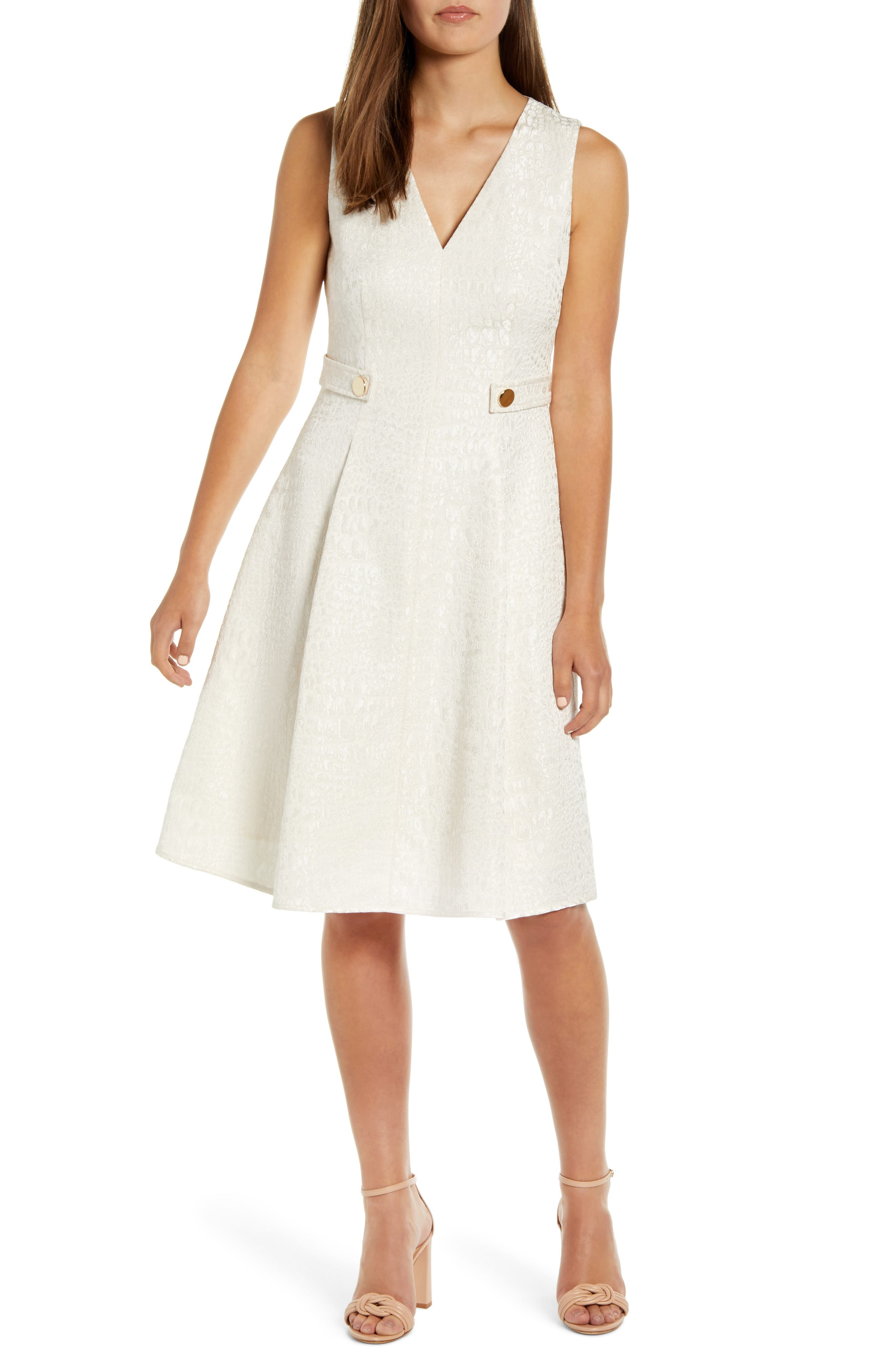 Anne Klein V-Neck Jacquard Fit & Flare Dress, White