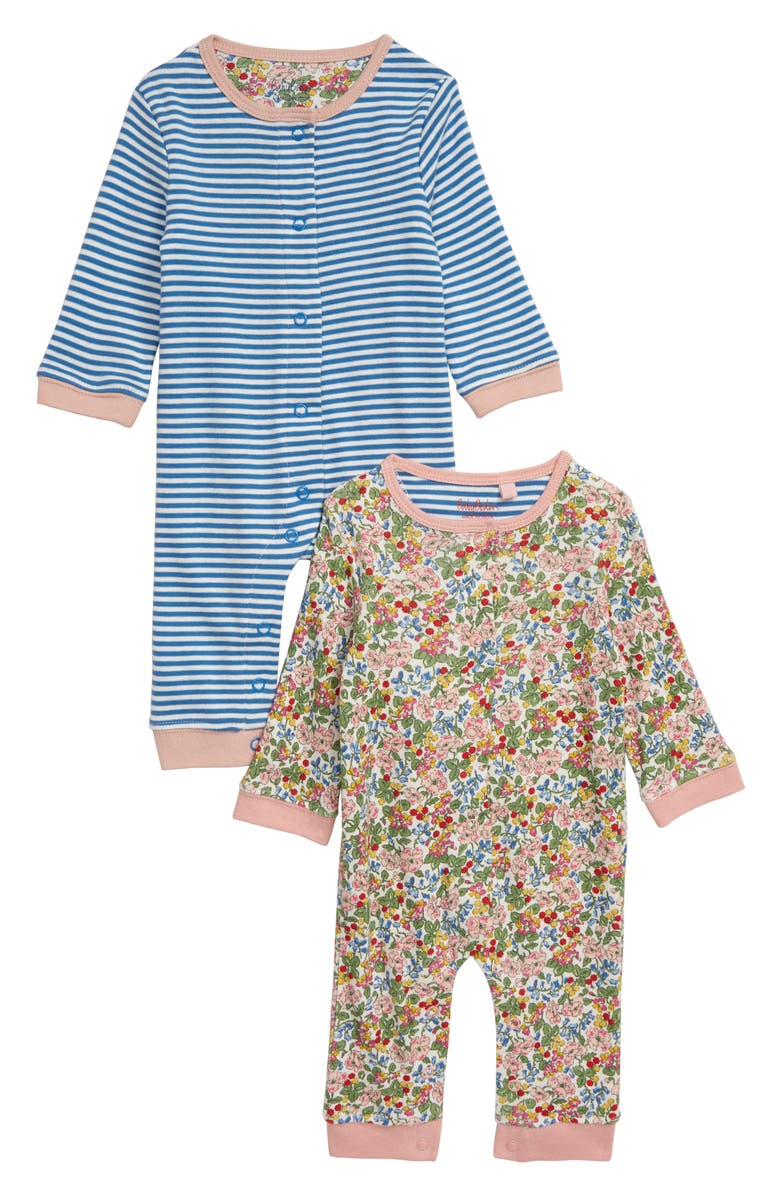 MINI BODEN 2-Pack Cotton Rompers, Main, color, CHALKY PINK/ FLOWER/ BERRY