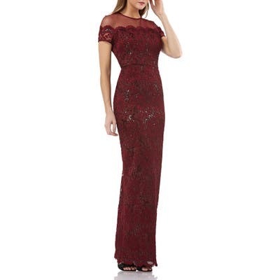 Js Collections Sequin Lace Gown, Red