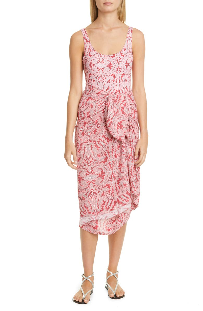 ETRO Paisley Cover-Up Wrap Skirt, Main, color, PINK