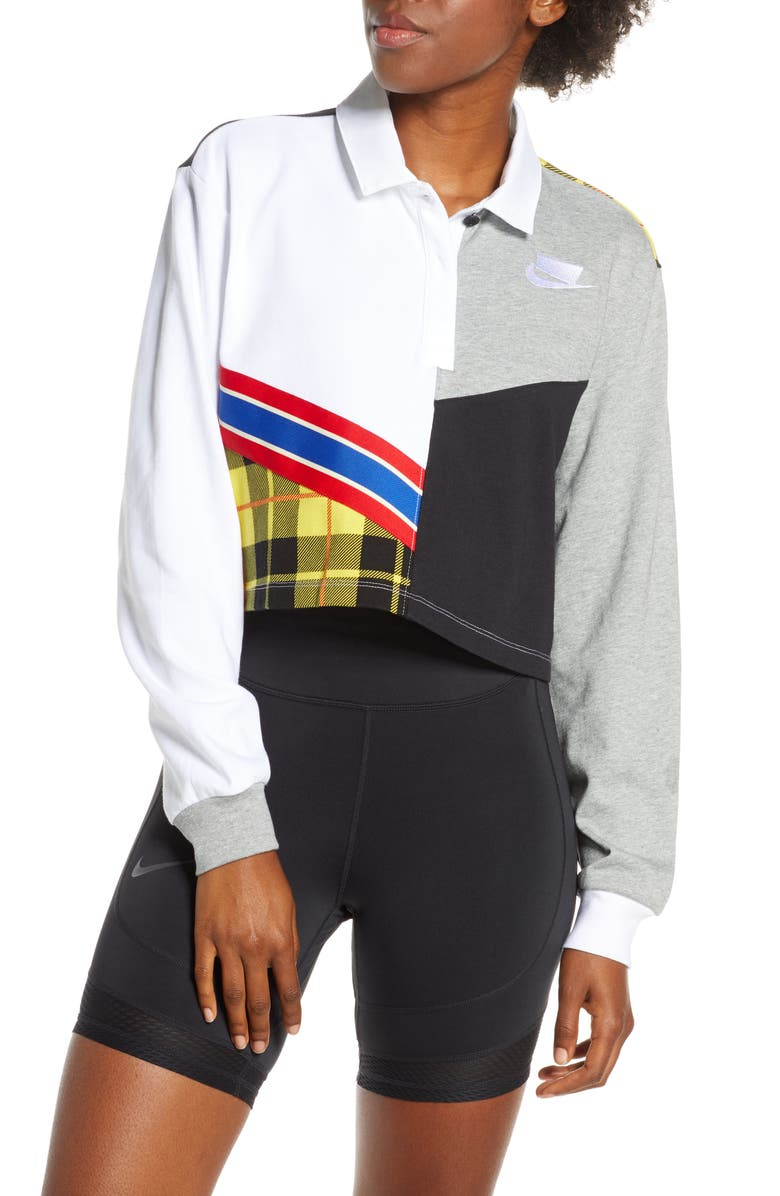 NIKE Sportswear Long Sleeve Crop Polo, Main, color, WHITE/ DARK GREY HEATHER