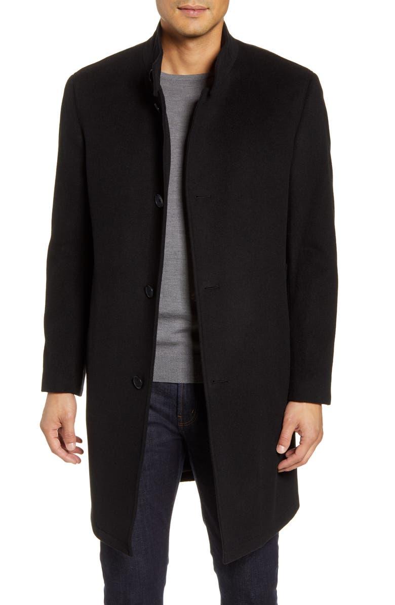 NORDSTROM MEN'S SHOP Trim Fit Wool Blend Overcoat, Main, color, BLACK CAVIAR