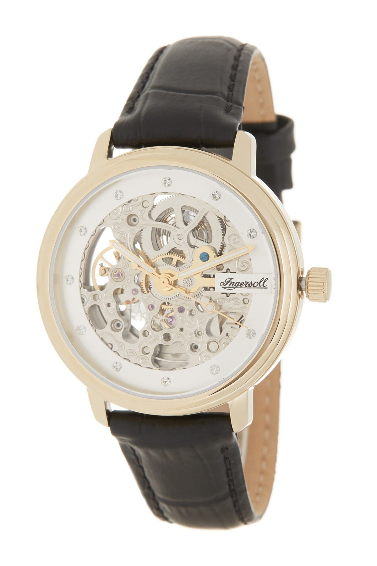 Image of INGERSOLL WATCHES Women's Crown Croc Embossed Leather Strap Watch, 38mm