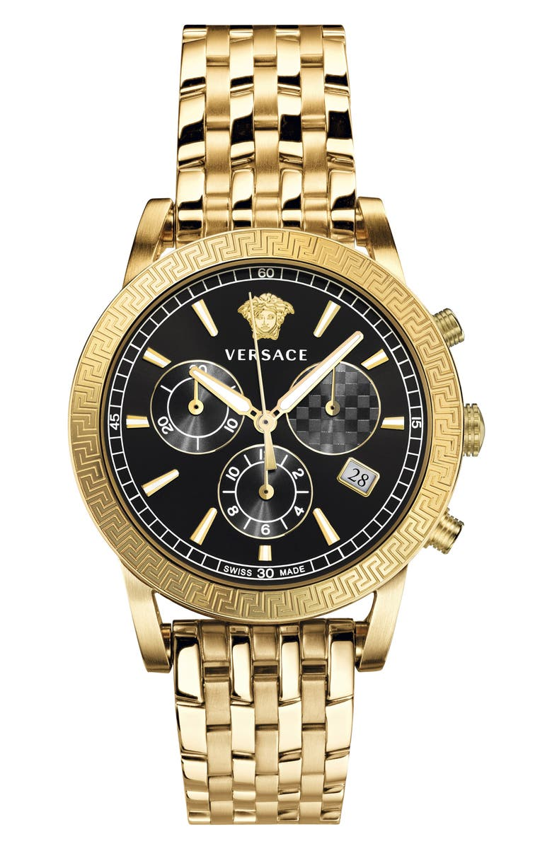 VERSACE Sport Tech Chronograph Bracelet Watch, 40mm, Main, color, GOLD/ BLACK/ GOLD