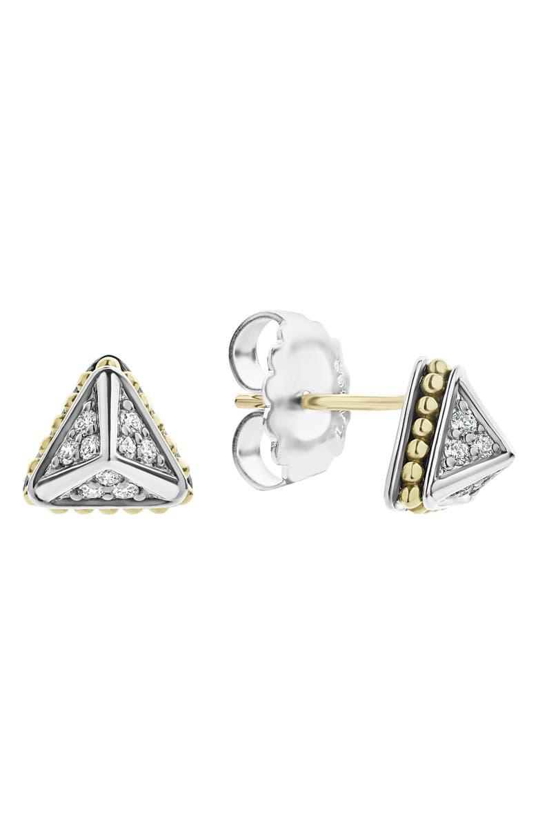 LAGOS KSL Lux Diamond Pyramid Stud Earrings, Main, color, SILVER/ DIAMOND