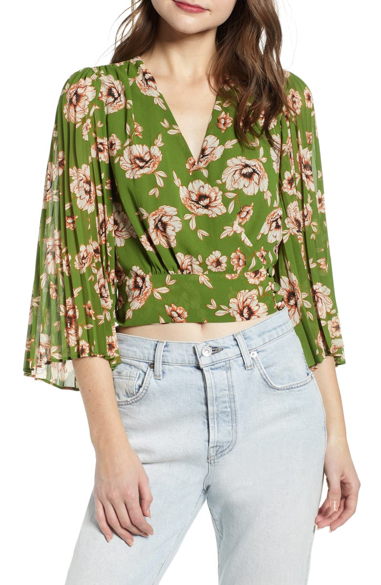 ASTR THE LABEL Floral Pleated Sleeve Wrap Blouse, Main, color, GREEN/ TAUPE FLORAL
