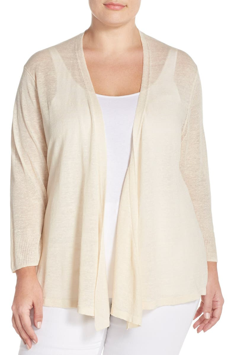 NIC+ZOE '4-Way' Three Quarter Sleeve Convertible Cardigan, Main, color, SANDSHELL