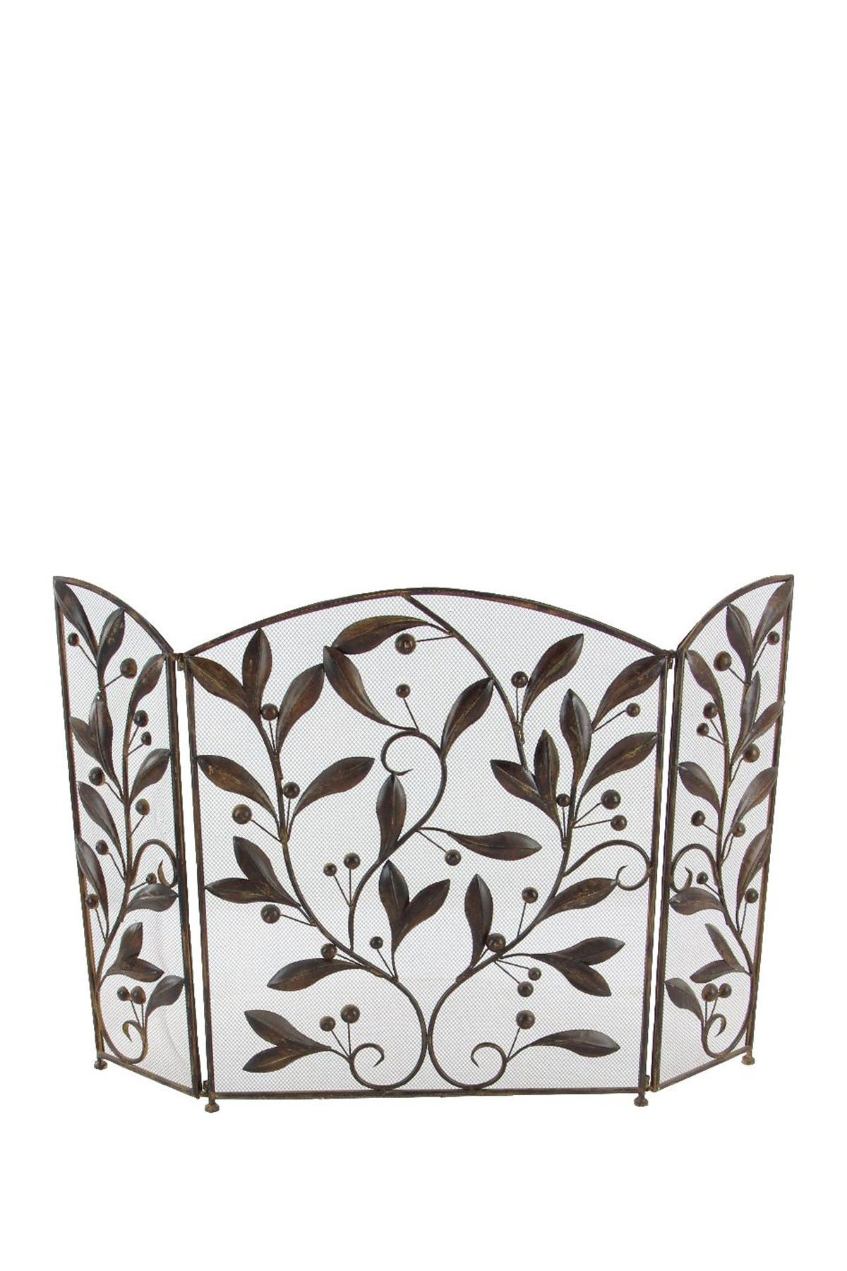 Image of Willow Row Traditional Iron Ornate Leaf Fireplace Screen