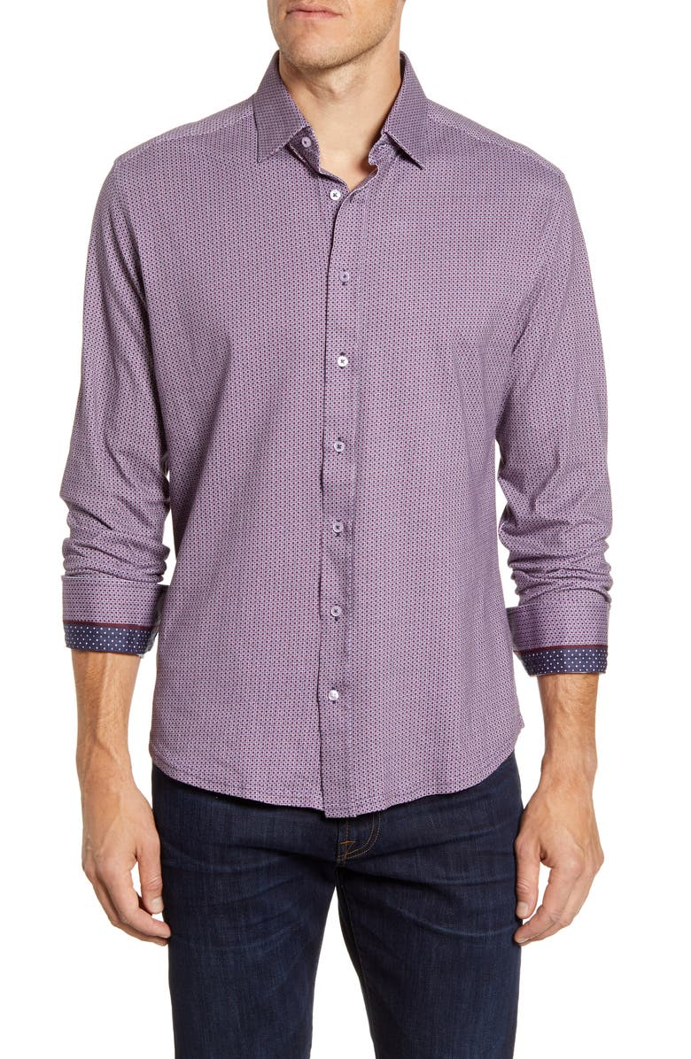 STONE ROSE Regular Fit Button-Up Performance Shirt, Main, color, PINK