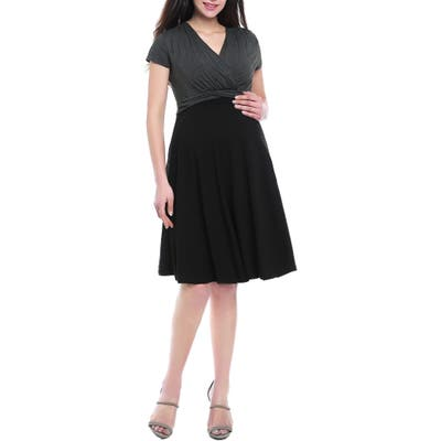 Kimi & Kai Sarah Faux Wrap Maternity/nursing Dress, Black