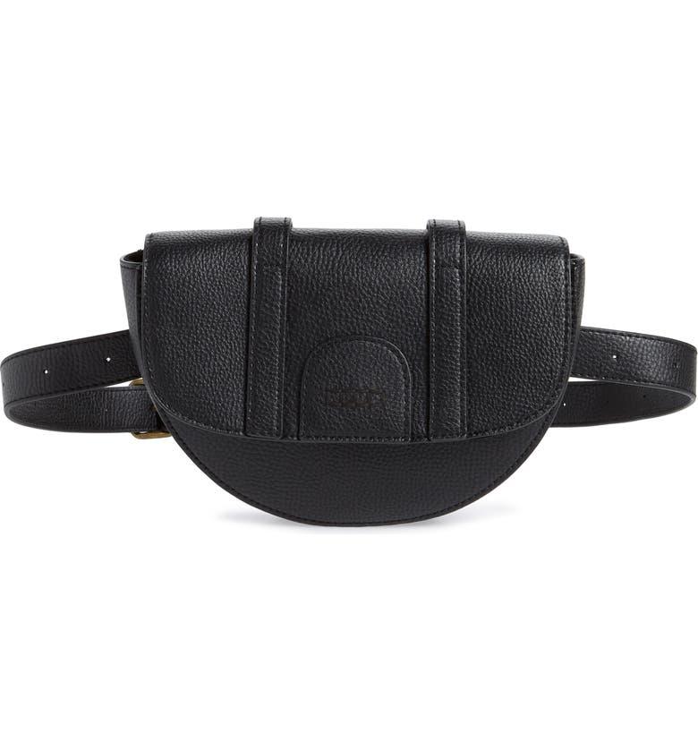 BP. Faux Leather Moon Belt Bag, Main, color, BLACK