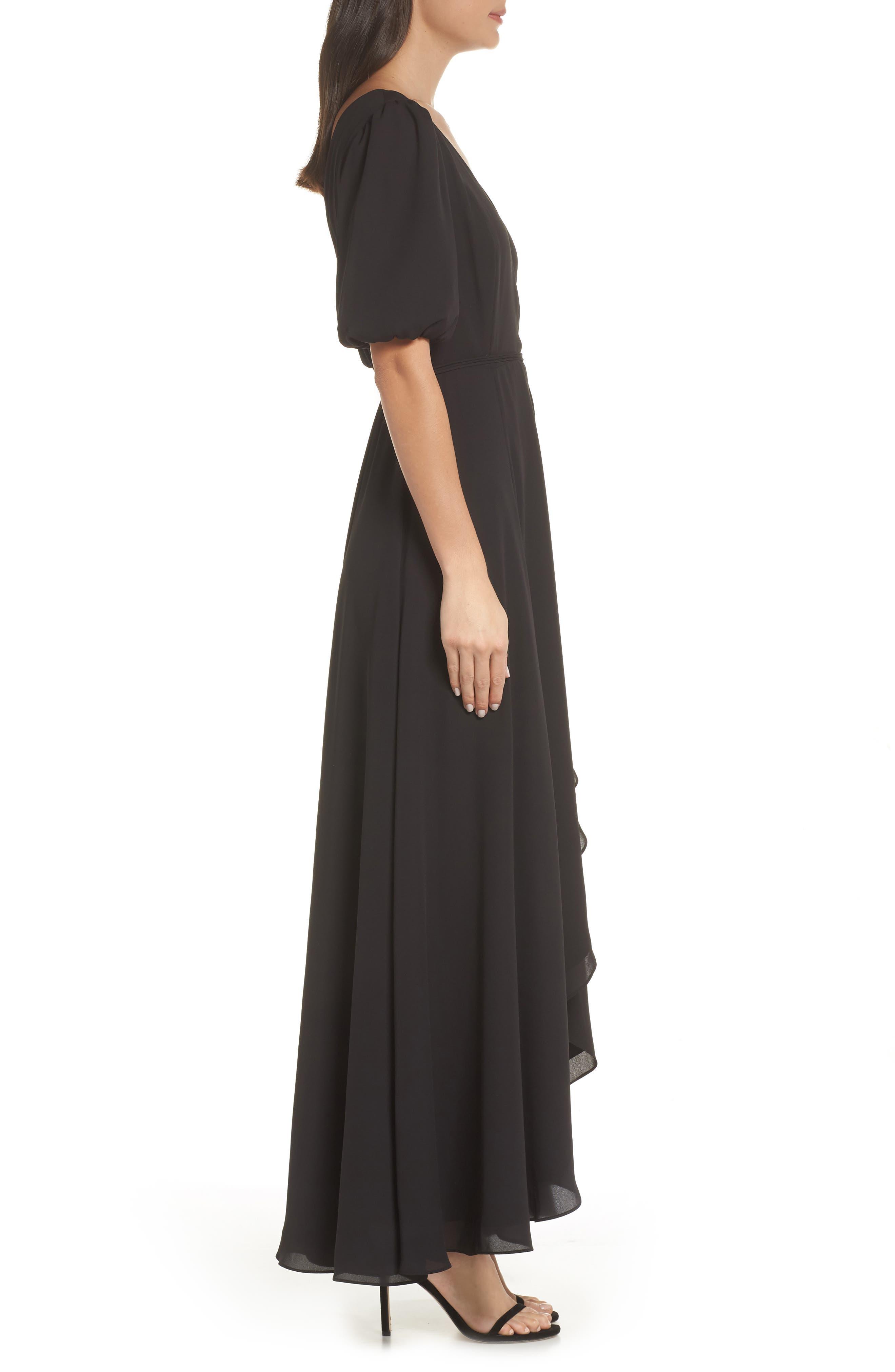 ,                             V-Neck Georgette Wrap Gown,                             Alternate thumbnail 4, color,                             BLACK
