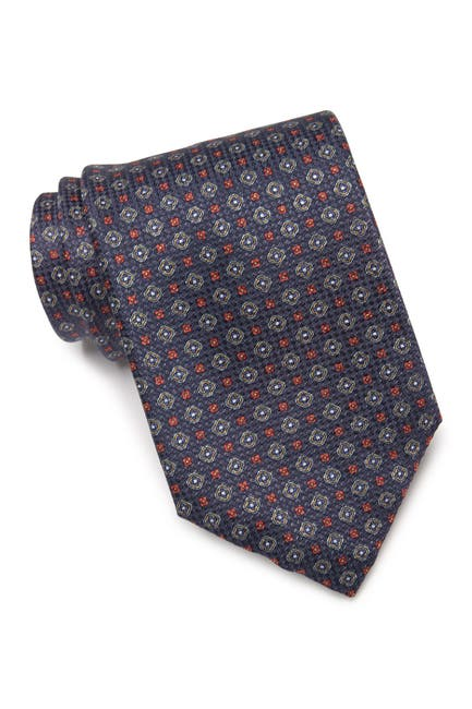 Image of Eton Geometric Flower Silk Tie