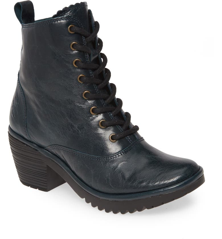 FLY LONDON Wune Lace-Up Bootie, Main, color, DARK PETROL LEATHER