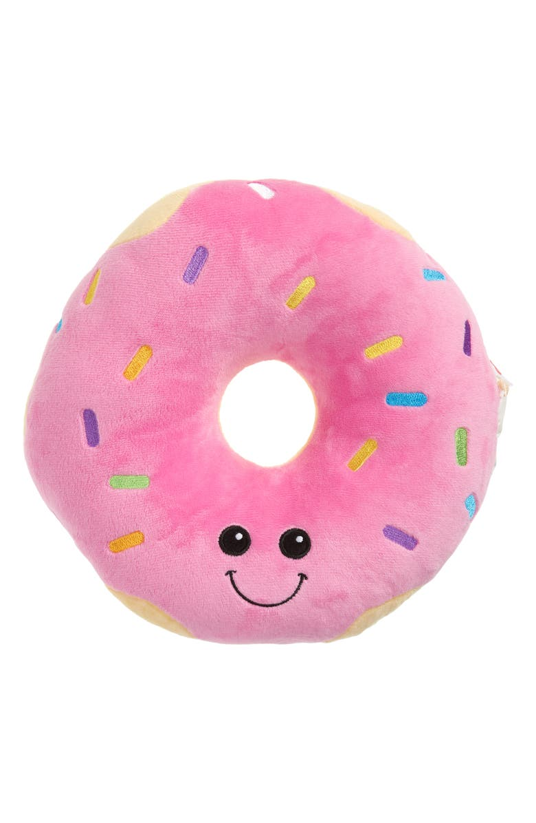 ISCREAM Mini Sprinkled Scented Stuffed Donut Pillow, Main, color, PINK