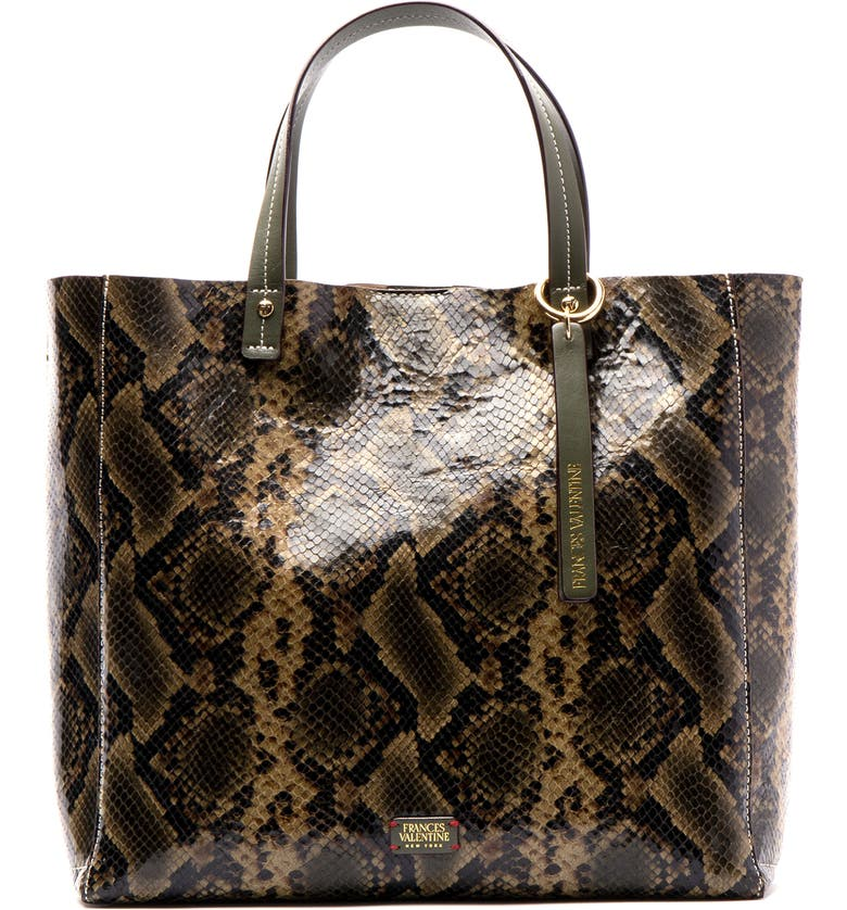 FRANCES VALENTINE Margaret Snake Embossed Leather Tote, Main, color, NAT/ OLIVE