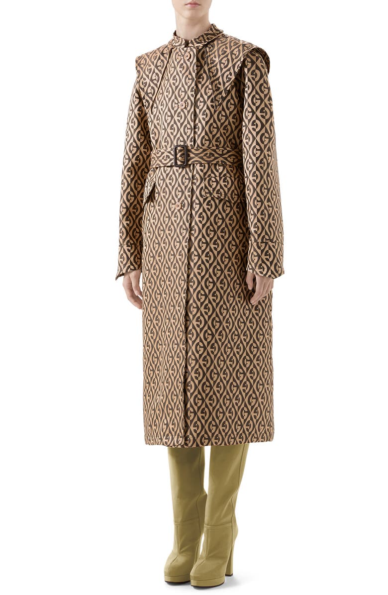 GUCCI GG Rhombus Trench Coat with Removable Cape, Main, color, BEIGE/ MIX