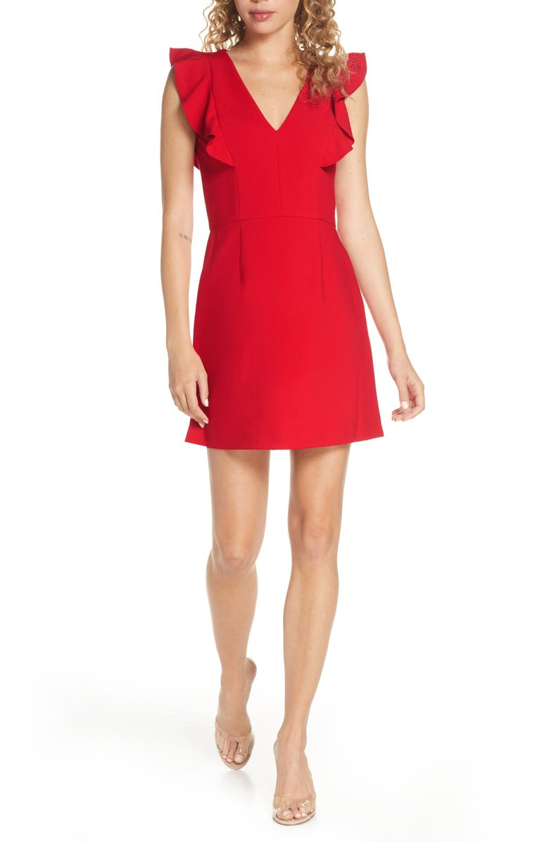 FRENCH CONNECTION Whisper Ruffle Minidress, Main, color, TRUE RED