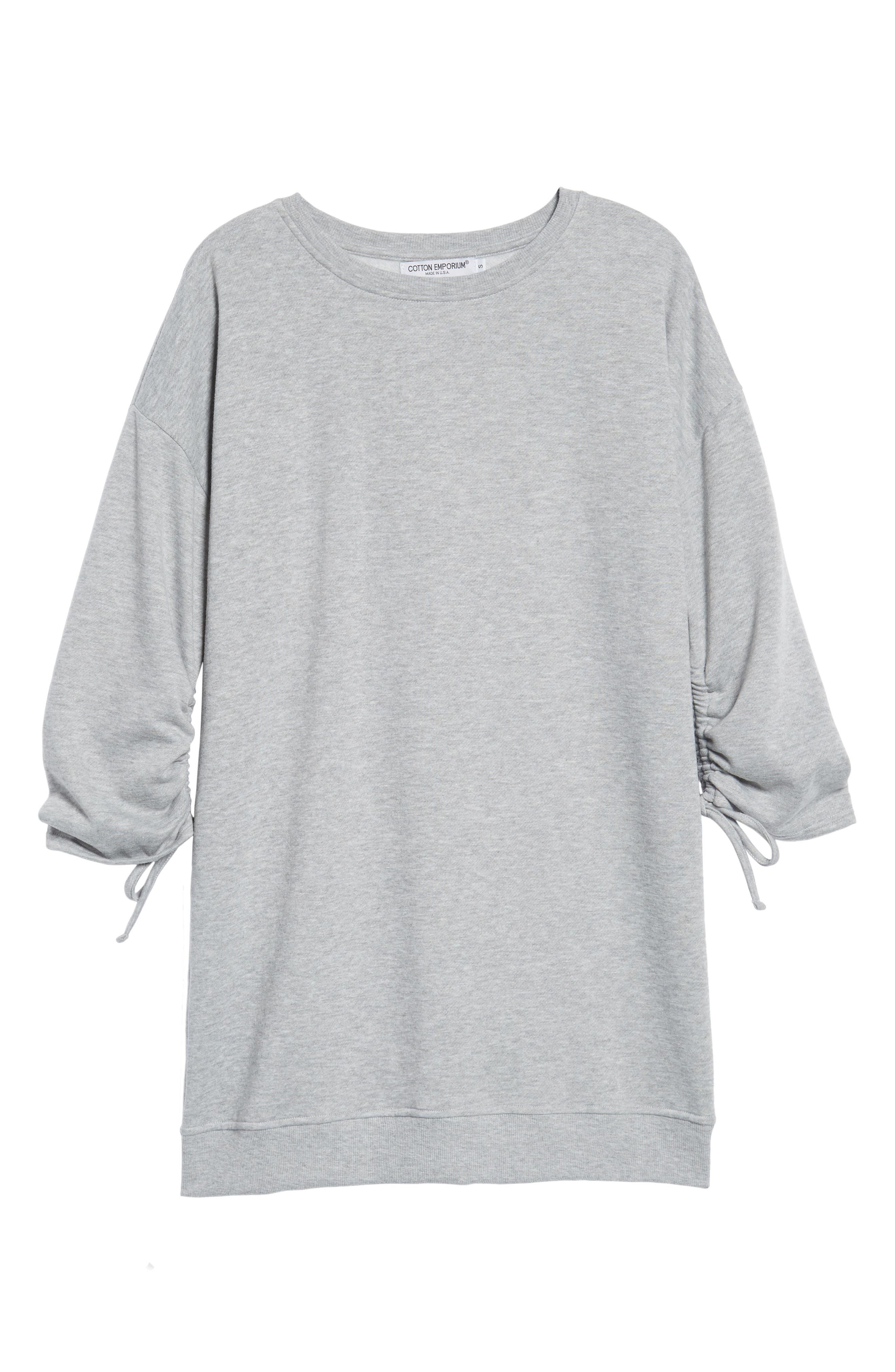 ,                             Ruched Sleeve Sweatshirt Dress,                             Alternate thumbnail 6, color,                             020
