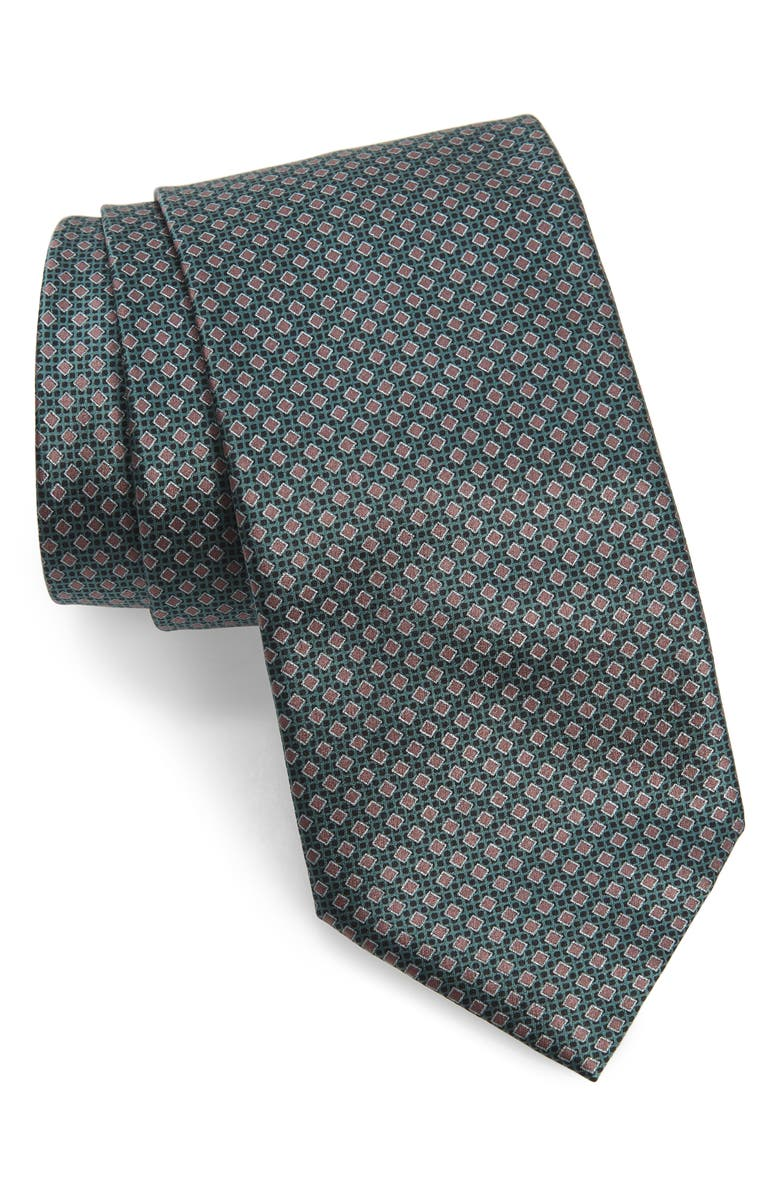 BRIONI Geometric Diamond Silk Tie, Main, color, GREEN