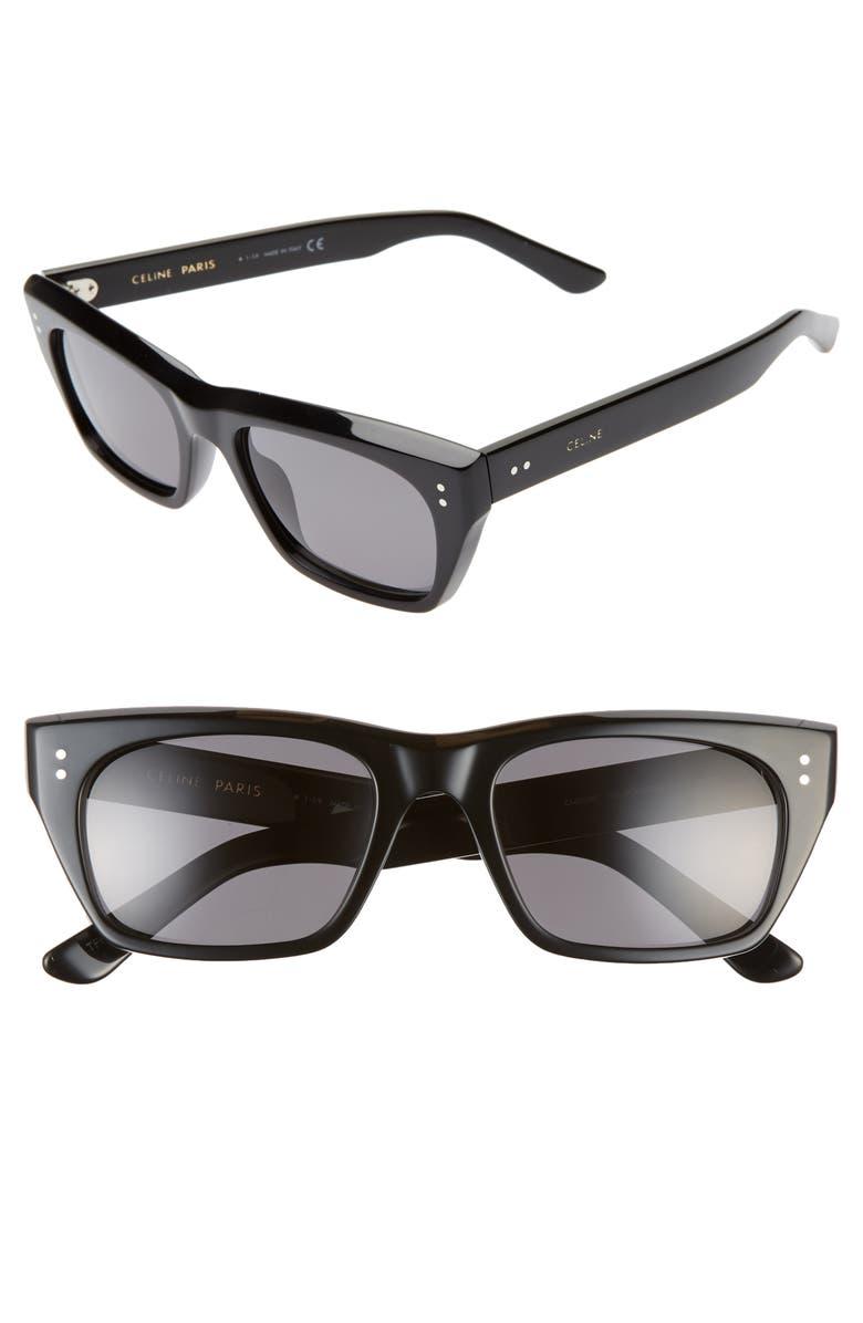 CELINE 53mm Polarized Rectangle Sunglasses, Main, color, 001