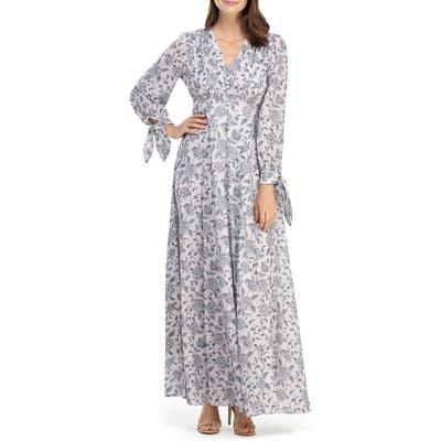 Gal Meets Glam Collection Florence Floral Tie Cuff Long Sleeve Maxi Dress, Grey