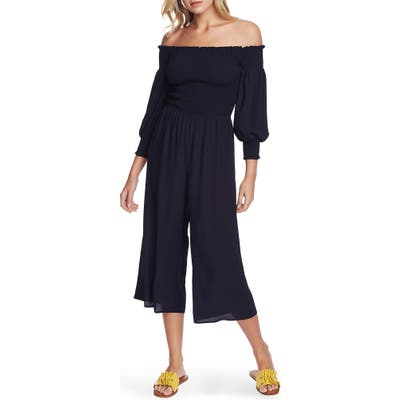 1.state Off The Shoulder Smocked Wide Leg Crop Jumpsuit, Blue