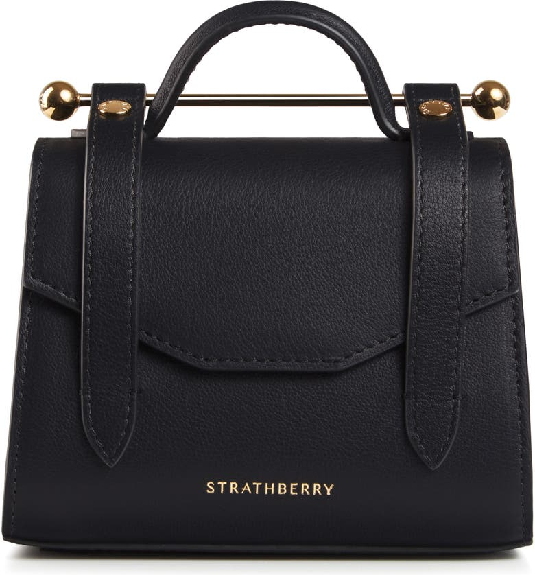 STRATHBERRY Micro Allegro Calfskin Leather Tote, Main, color, BLACK