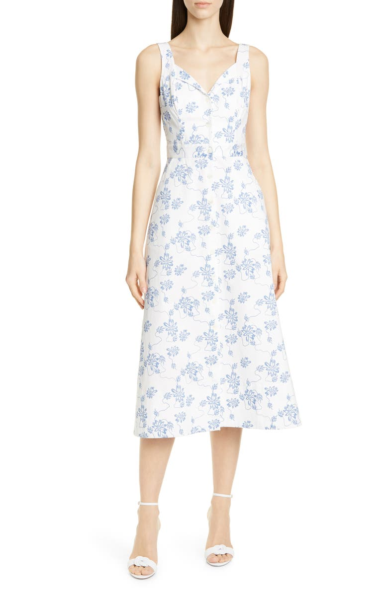 EQUIPMENT Joie Oleisa Sundress, Main, color, NATURE WHITE/ BLEU COTIER