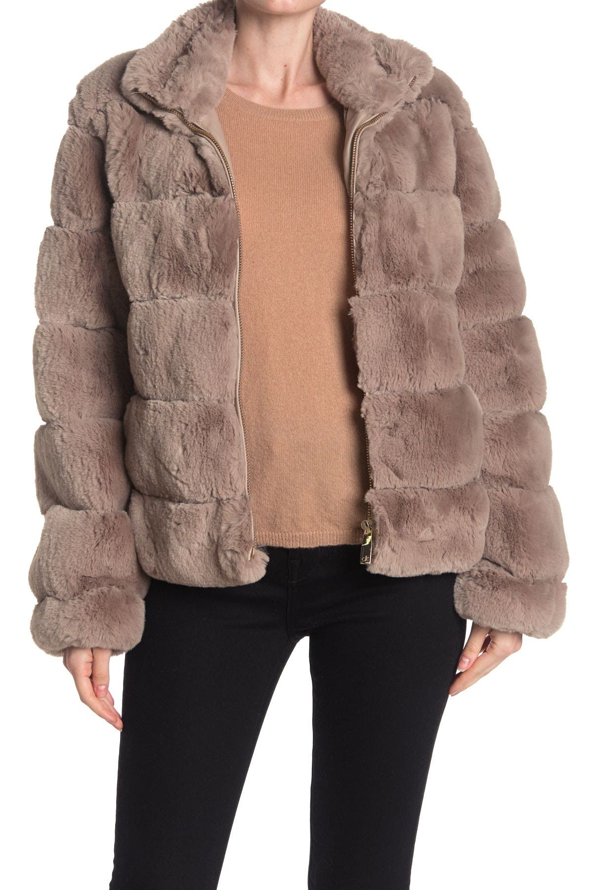 Image of Calvin Klein Quilted Faux Fur Zip Jacket
