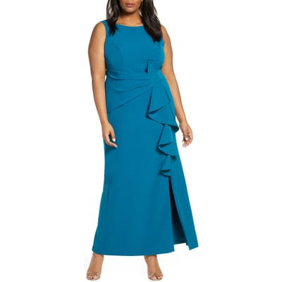 Plus Size Eliza J Ruffle Detail Gown, Blue/green