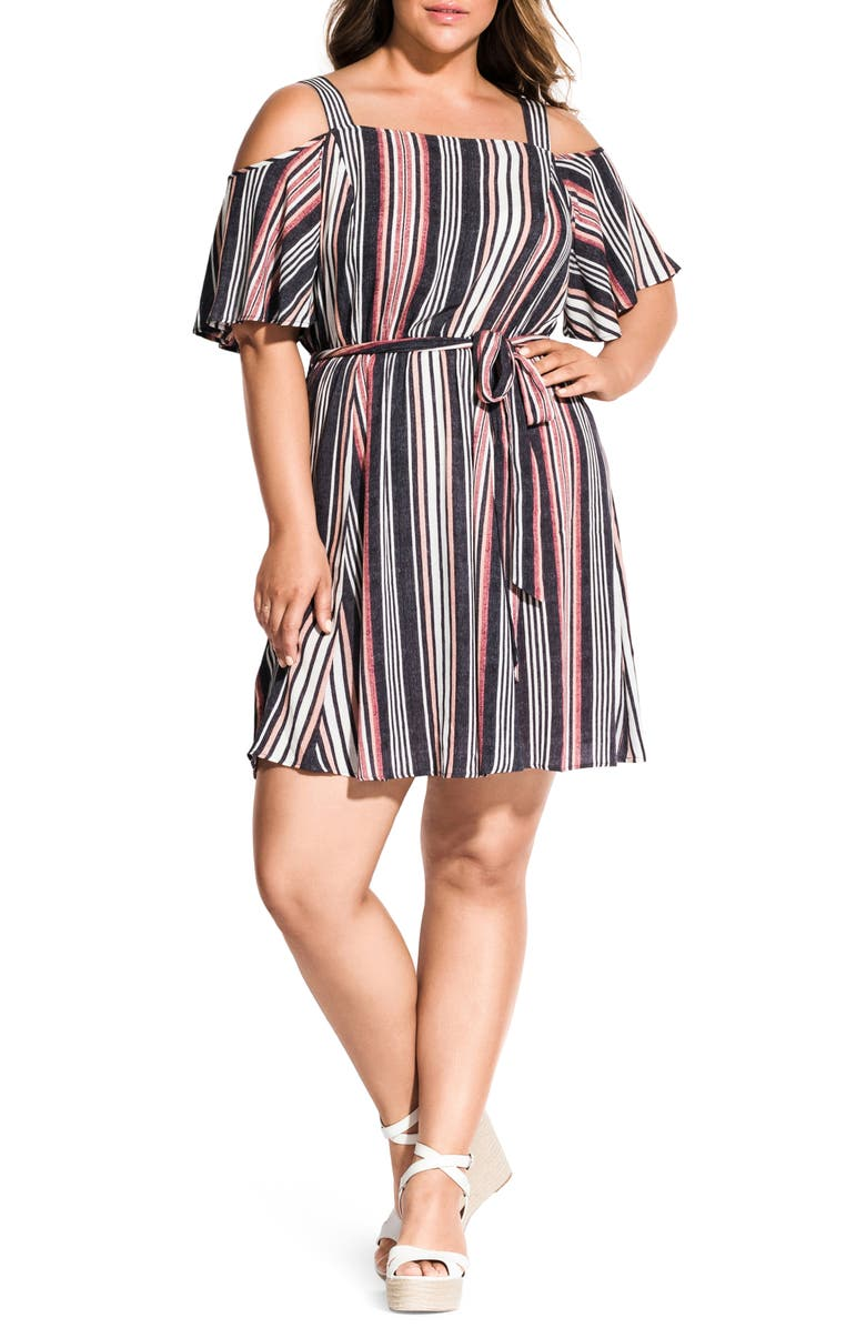CITY CHIC Rose Stripe Cold Shoulder Dress, Main, color, ROSE STRIPE
