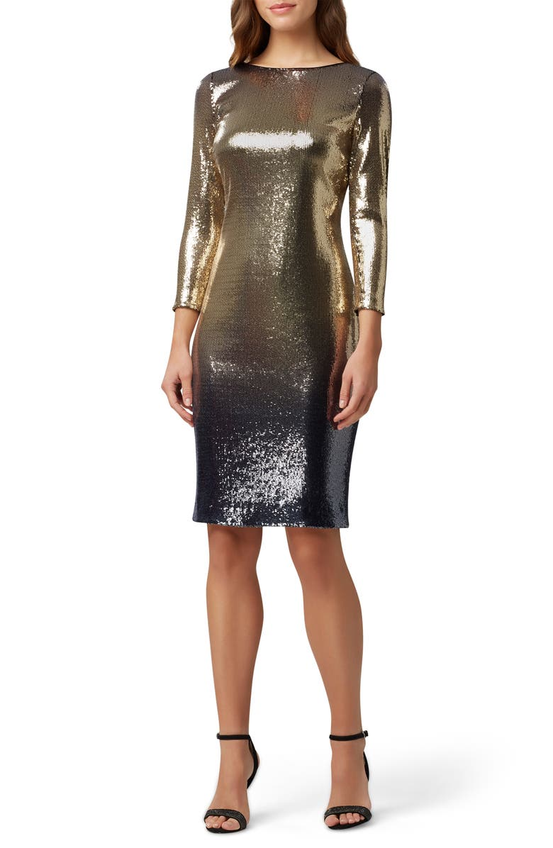 TAHARI Sequin Mesh Cocktail Dress, Main, color, GOLD NAVY SEQUIN