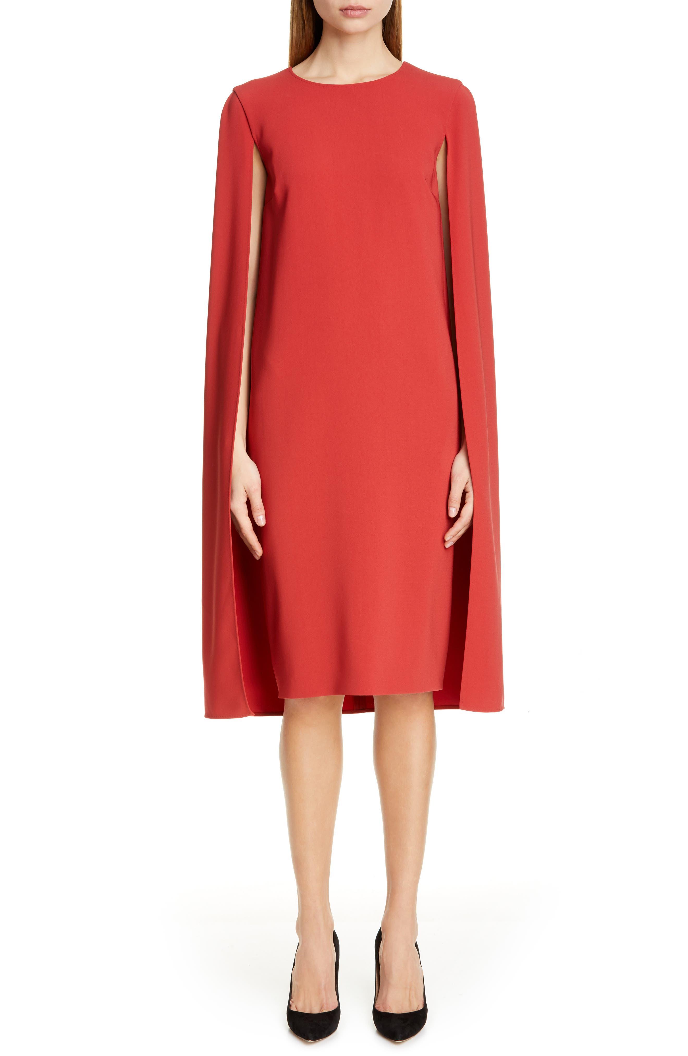 Max Mara Sansone Cape Shift Dress, Red