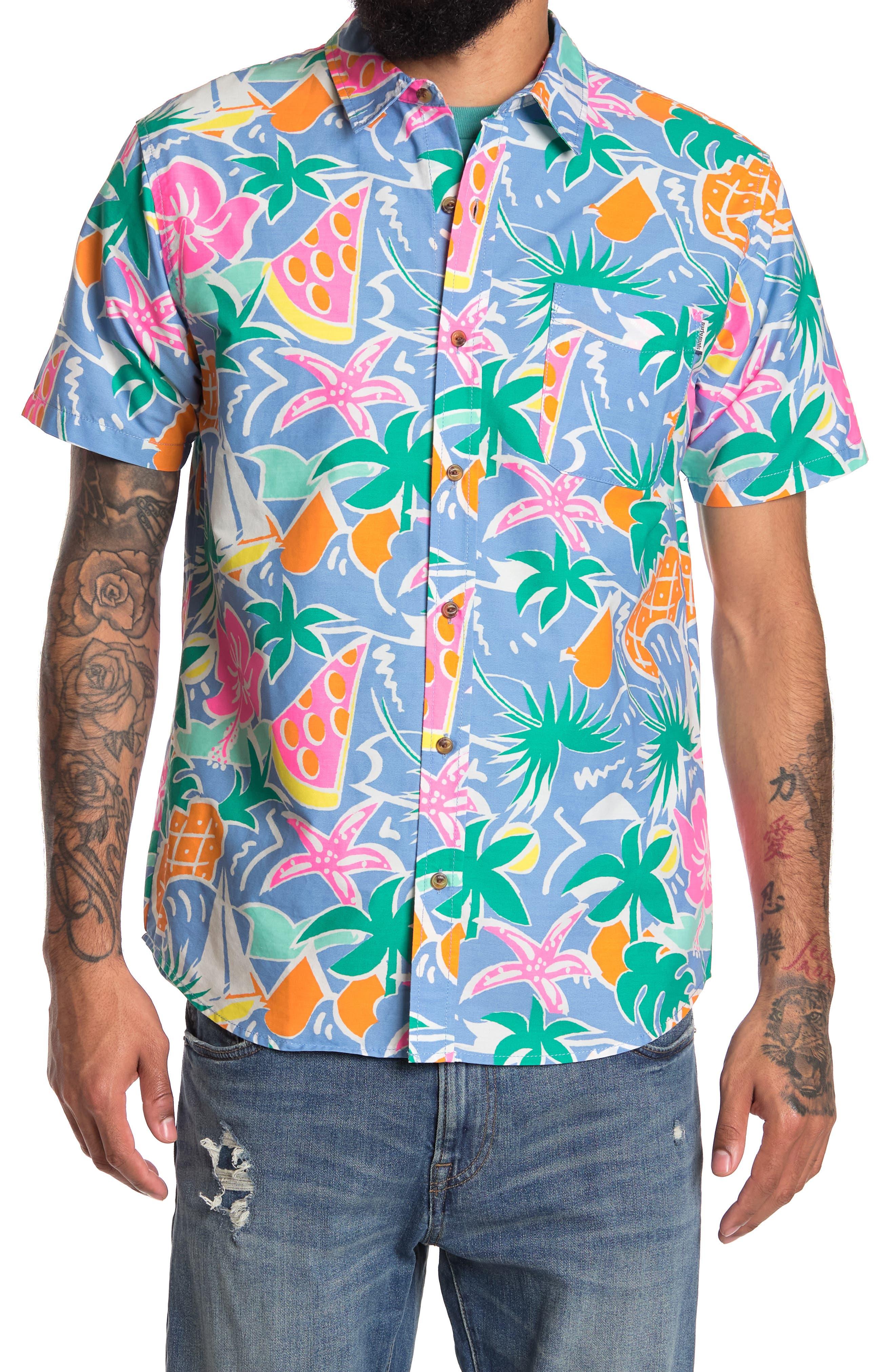 80s Men's Shirts, T-shirts, Retro Shirts PARTY PANTS Tropical Print Short Sleeve Shirt Size XXL - Blue at Nordstrom Rack $29.97 AT vintagedancer.com