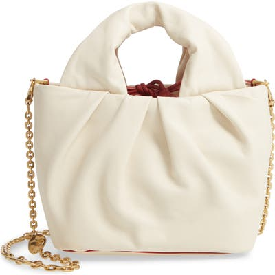 Staud Lera Snake Embossed Leather Top Handle Bag - Ivory