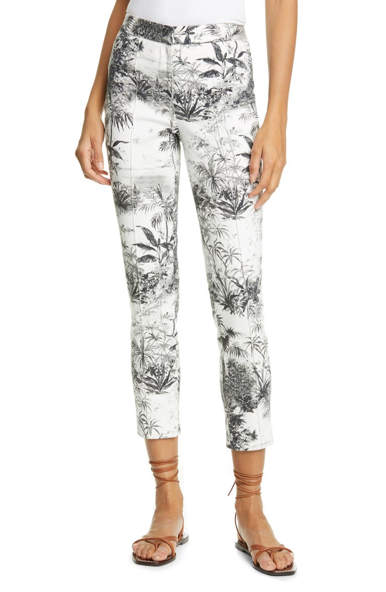 ADAM LIPPES Palm Print Stretch Twill Ankle Cigarette Pants, Main, color, 900