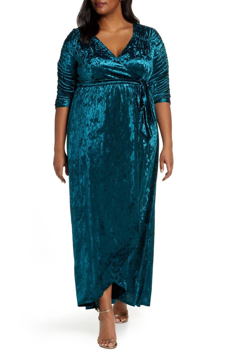 KIYONNA Cara Crushed Velvet Wrap Gown, Main, color, PEACOCK TEAL