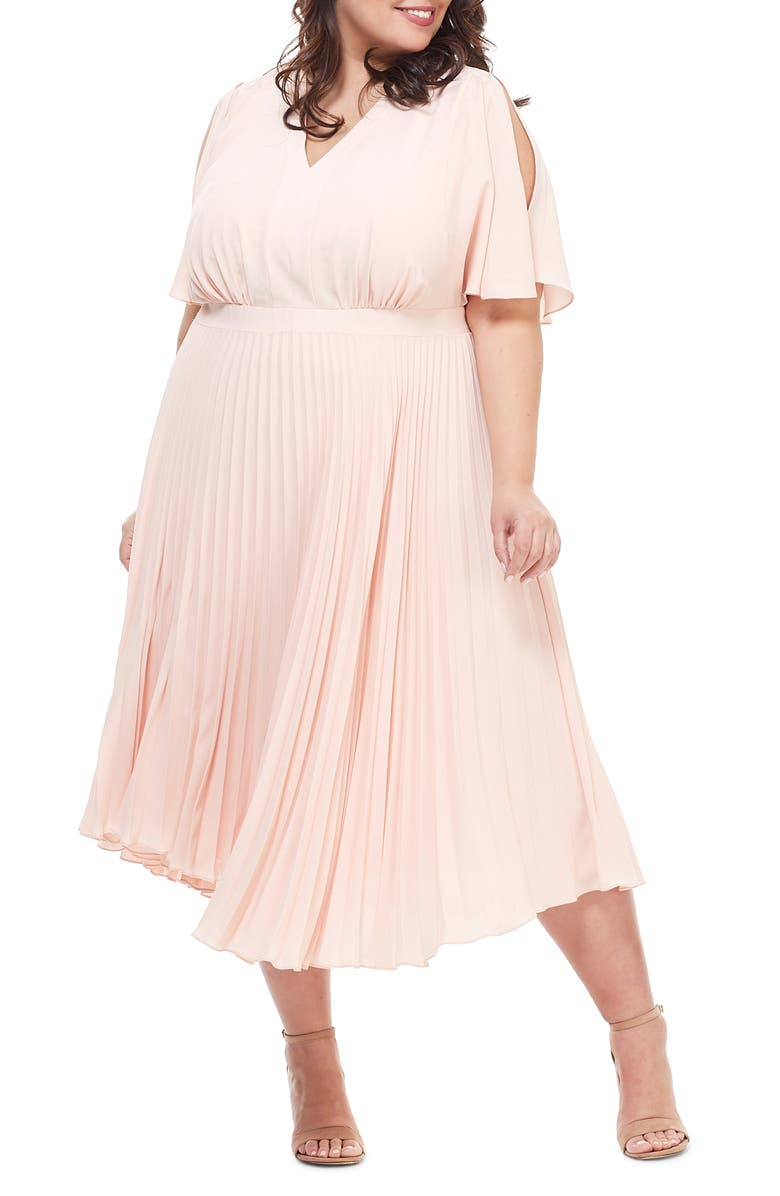 MAGGY LONDON Split Sleeve Pleated Midi Dress, Main, color, 670