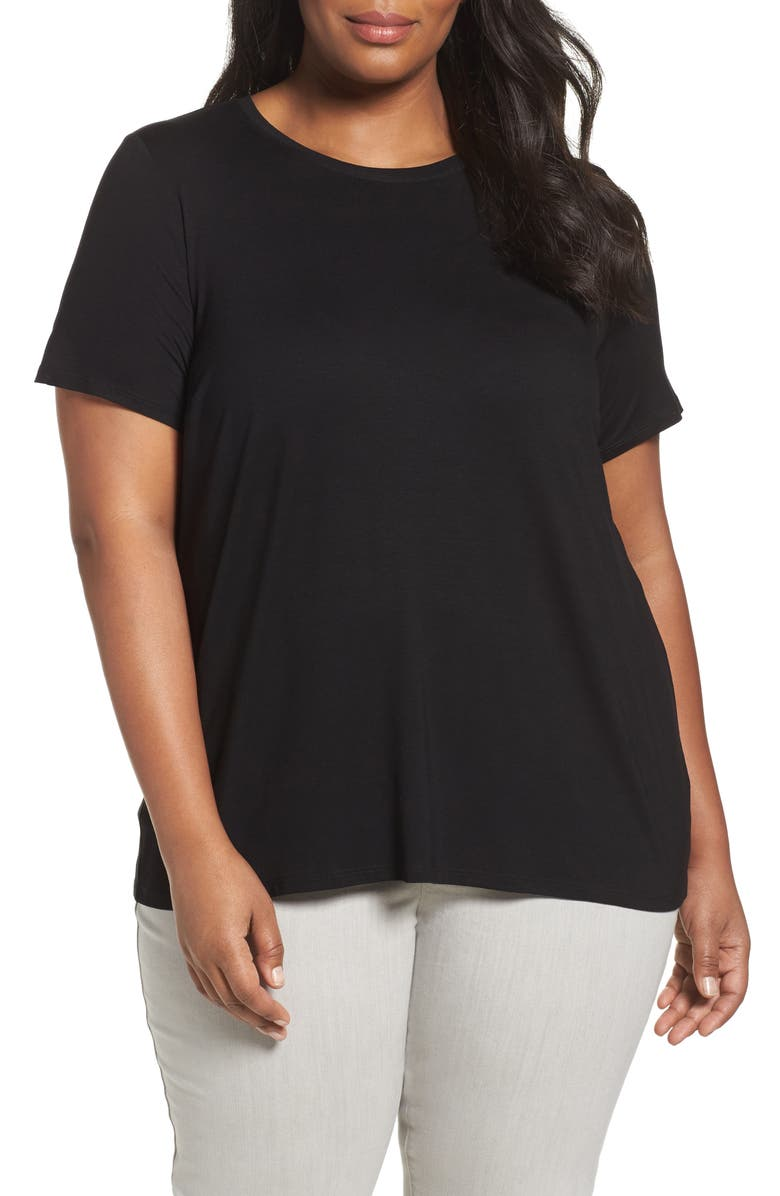 EILEEN FISHER Lightweight Jersey Tee, Main, color, BLACK