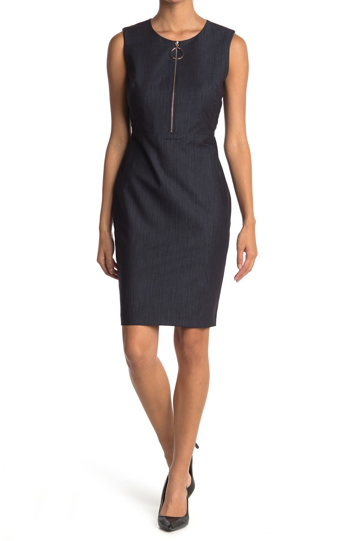 Image of Calvin Klein Sleeveless Denim Zip Front Sheath Dress