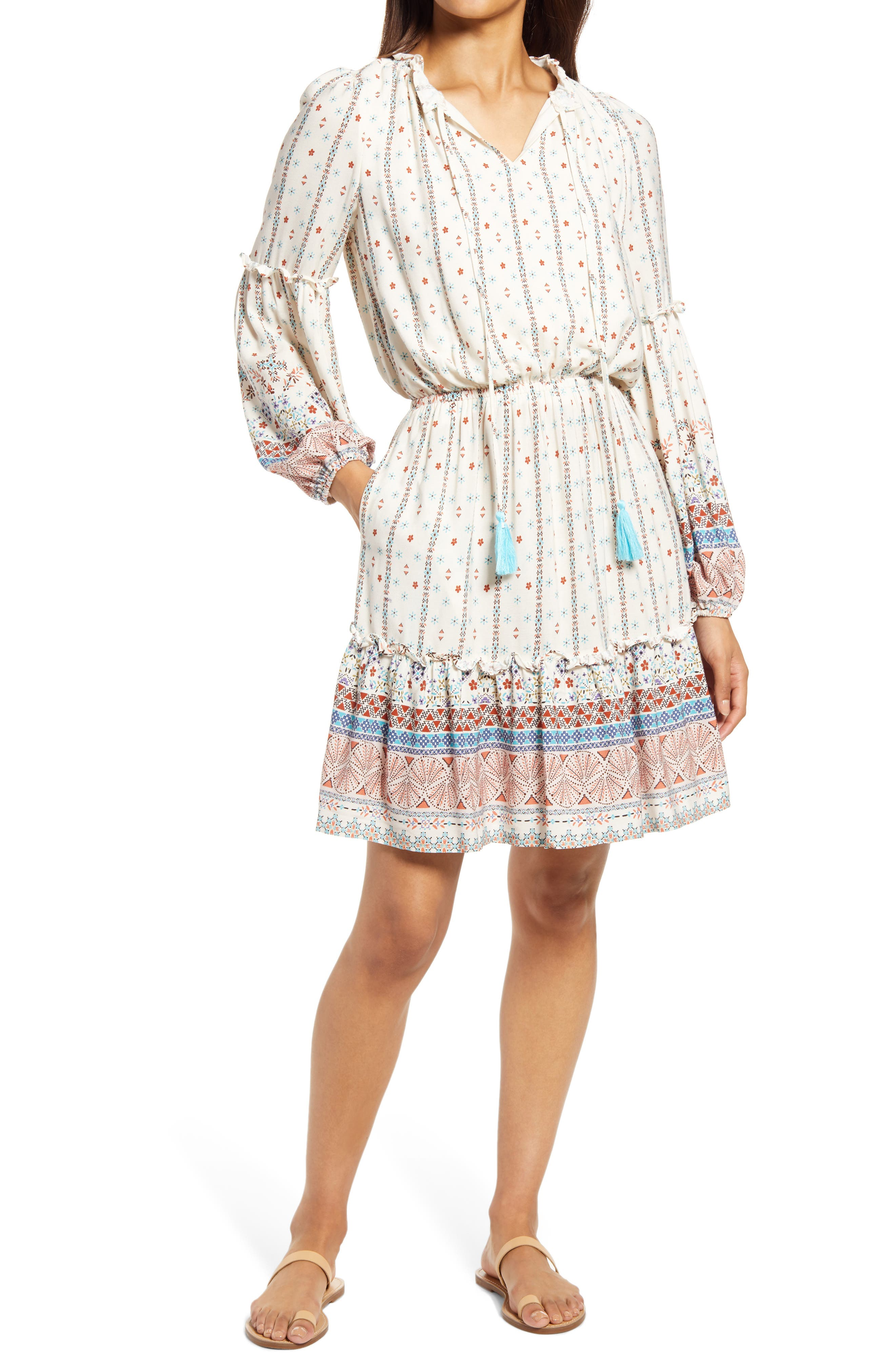 Border Print Long Sleeve Dress