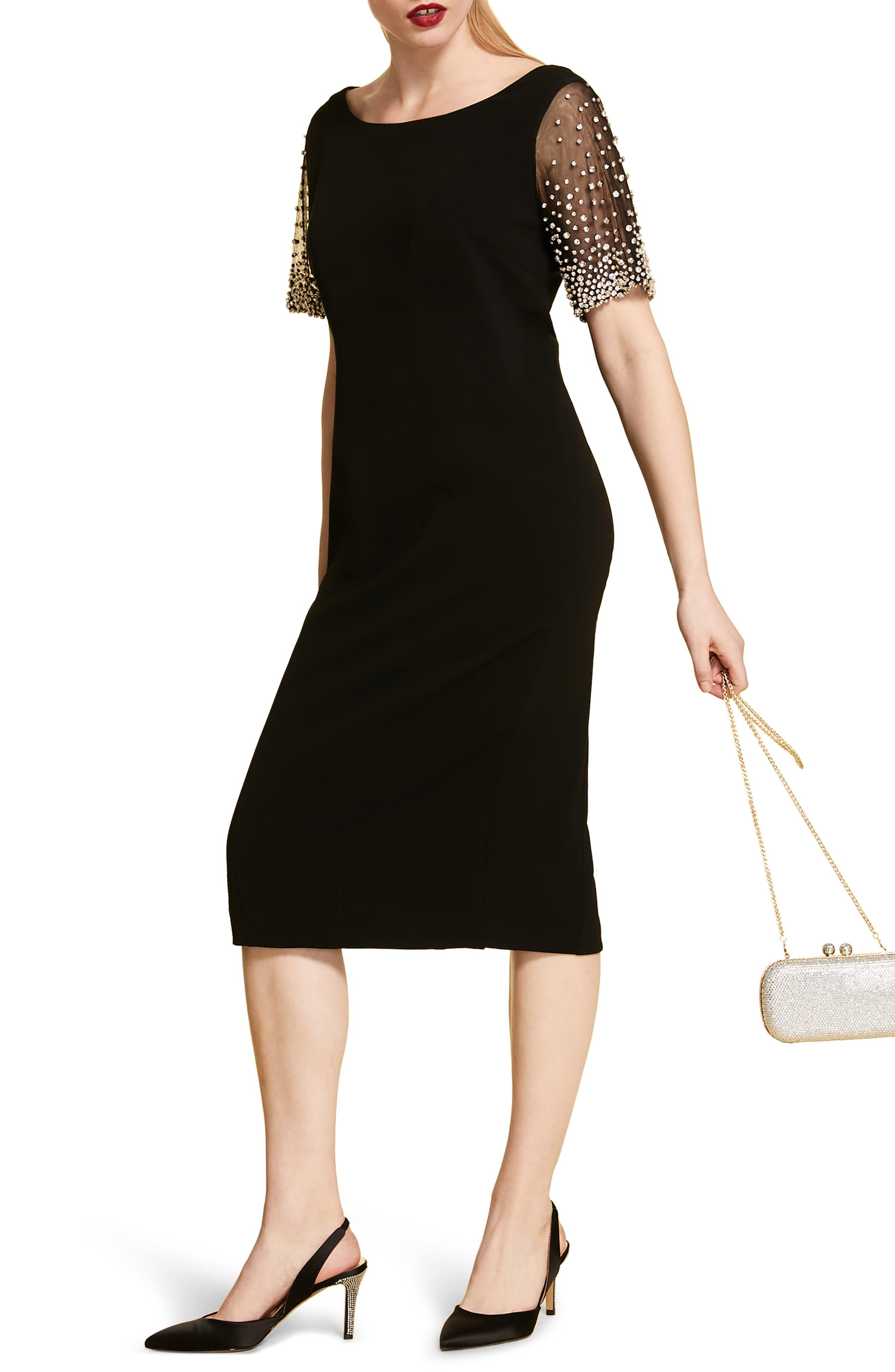 Plus Size Marina Rinaldi Ducato Jewel Sleeve Cocktail Dress, Black